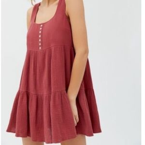 UO Gauze Mini Frock Dress